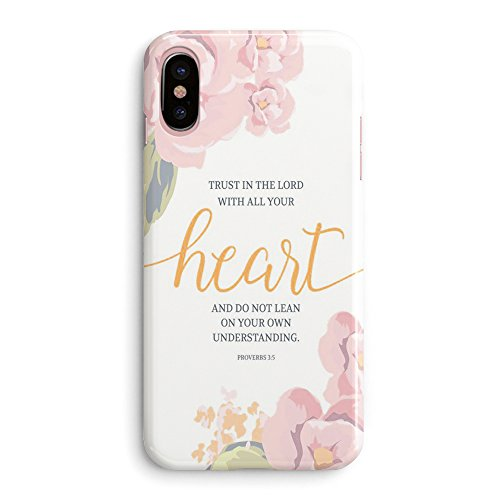 Cheap Cases iPhone X Bible Verses Quote Case- Christian Bible Verses Inspirational Pink Floral..