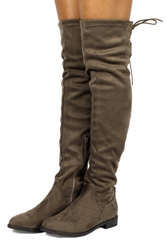 Womens Casual Winter Boots (DREAM PAIRS Women's Uplace Khaki Suede Over The Knee Thigh High Winter Boots Size 10 M US)