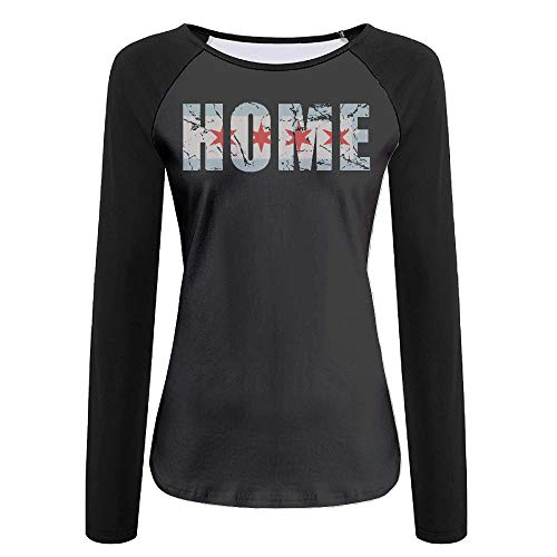 Q44R-2RT Vintage Fade Home Chicago Flag Women's Casual Long Sleeve Round Neck Tee Funny Raglan Baseball T Shirt