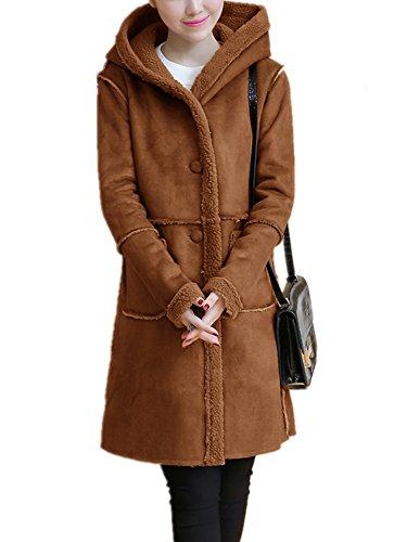 Lightweight Shearling Coat (Lemosery Women's Vintage Sheepskin Suede Leather Cashmere Shearling Hoodie Long Winter Coat)