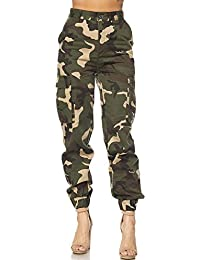 Womens Military Look Comfortable Camouflage Cargo Jogger Pants 21524