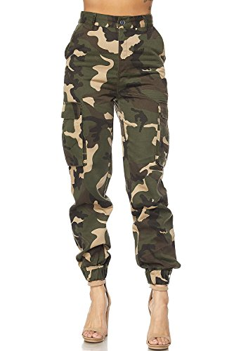 GENx Womens Military Look Comfortable Camouflage Cargo Jogger Pants 21524 (S, Camo)