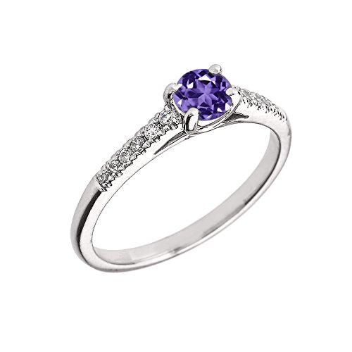 - 10K White Gold Diamond and Genuine Amethyst Engagement Proposal Ring (Size 5.5)