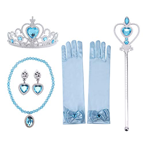 Girls Princess Dress Up Accessories Set- Princess gloves, Princess tiara crown, Earrings and Wand, Necklaces, Blue, 5 Pieces. ()