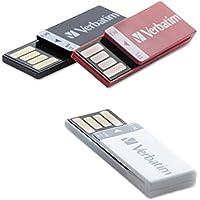 Verbatim Clip-it USB 2.0 Flash Drive, 8GB, Black/Red/White, 3/Pack