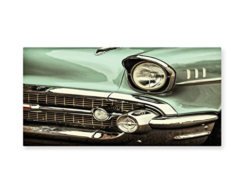 Lunarable 1950s Wall Art, Retro Styled Image of a Front of a Green Antique Car American Bumper History Polished, Gloss Aluminium Modern Metal Artwork for Wall Decor, 23.5 W X 11.6 L Inches, Pale Green