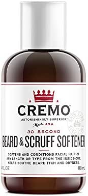 Cremo Beard & Scruff Softener, 30 Second Beard Softener To Soften And Condition Facial Hair Of Any Length, 4 Ounce