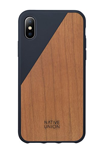 (Native Union CLIC Wooden Case for iPhone X - Handcrafted Real Cherry Wood Drop-Proof Slim Cover with Screen Bumper Protection (Marine))