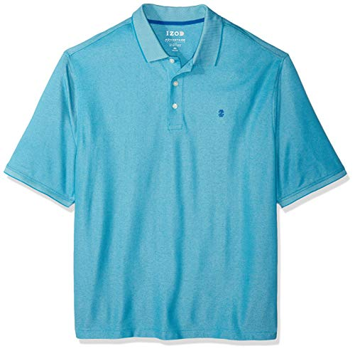 IZOD Men's Big and Tall Advantage Performance Short Sleeve Solid Heather Polo, Caneel Bay, 4X-Large ()