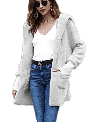 Cardigan Sweater Faux Fur - ECOLIVZIT Sherpa Hoodie Fuzzy Fleece Jacket Winter Coat Faux Fur Cardigan Sweater for Women Grey XL