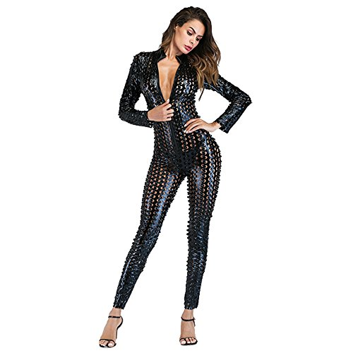 (Wonder Pretty Women Jumpsuit Catsuit Black Romper Metallic Bodysuit Sexy Clubwear Stripper Leather Lingerie, Black, Small)