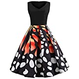 Ankola Womens Dresses Casual Butterfly Print Sleeveless Swing Pleated Skater A Line Mini Dress (XXL, Black)