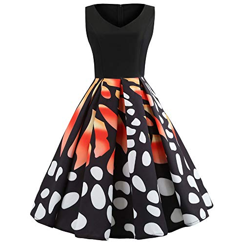 GOVOW Halloween Costumes for Women Butterfly Printed Sleeveless Evening Party Dress Swing Dress(S,Black) -