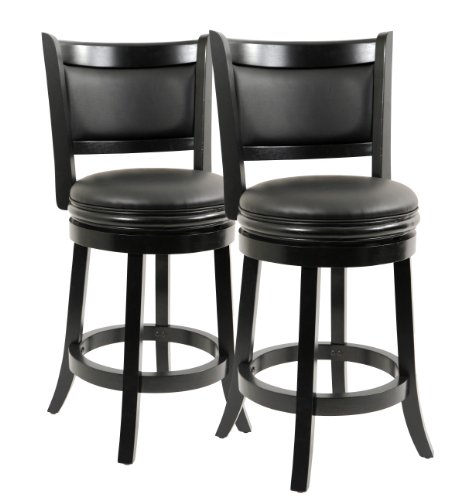 Boraam 5824 Augusta Counter Height Swivel Stool, 24-Inch, Black, 2-Pack (Stool Bar Back Design)