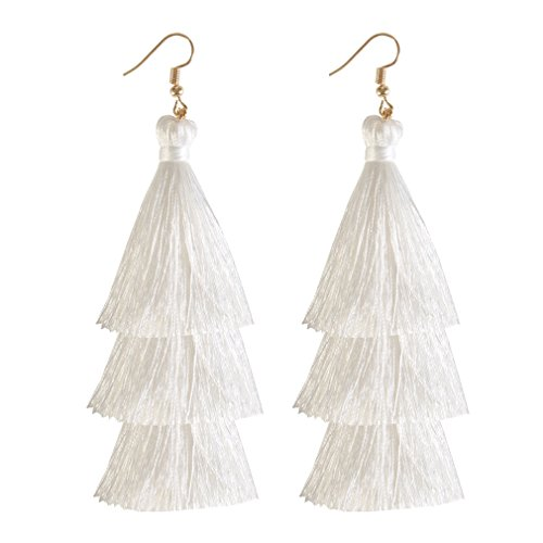 ELEARD Tassel Earrings Tiered Thread Tassel Dangle Earrings Statement Layered Tassel Drop Earrings (3 Layers White)