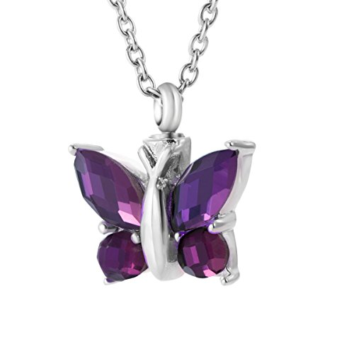 Cremation Urn Necklace for Ash Jewelry Butterfly Memorial Keepsake Amethyst Pendant Remains (Butterfly Purple Pendant)