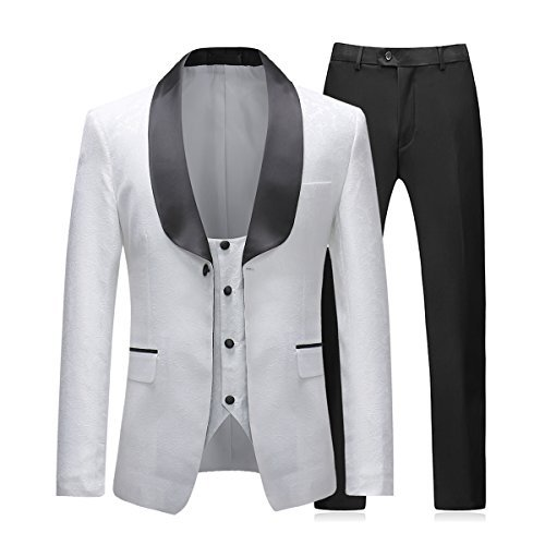 Boyland Mens 3-Piece Tuxedo Suits Formal Wedding Dress Jacket with Vest and Trouses,White,X-Large ()