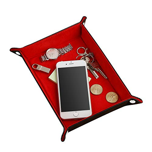 AtailorBird Jewelry Tray Key Holder Travel Organizer Nightstand Bedside Ring Storage with D&D Dice for Bedroom Entrance Office ()