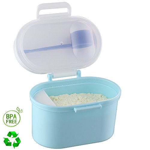 Formula Dispenser with Scoop Airtight BPA Free Portable Baby Milk Powder Cheap Small Stackable Stack Box Mixer Easy Go Travel Parents Choice for Kids Blue