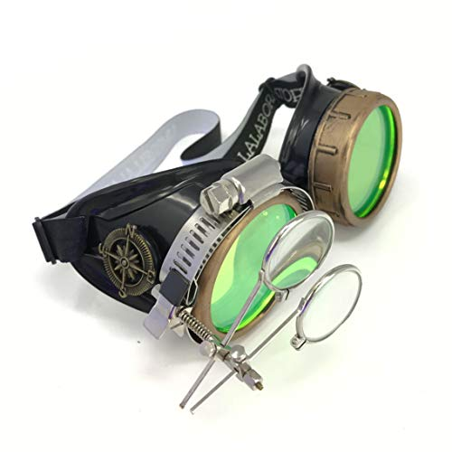 Steampunk Victorian Style Goggles with Compass Design, Neon Green Lenses & Ocular Loupe -