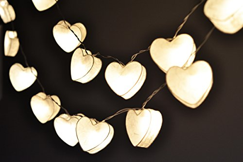 Romantic Lights Night Lights White Sweet Heart Hanging Lights for Bedroom Decoration 20 - Set Heart Light