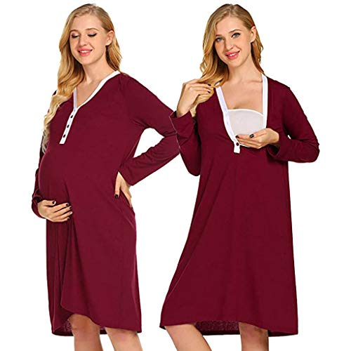 Maternity Nursing Robe,WensLTD Women's Robe Maternity Pregnancy Labor Robe Delivery Nursing Nightgowns Hospital Breastfeeding Gown (XXL, ()