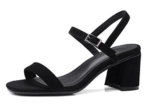 Frühjahr und Sommer Schuhe matt dicke hochhackigen Sandalen Wort offene Schuhe wilde Schnalle schwarz