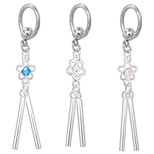 14G Stainless Steel Flower Dangle Captive Bead Ring (Dangle Captive Ring)