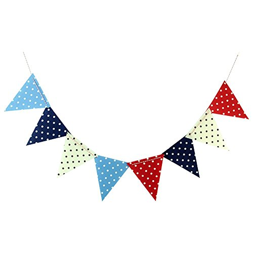 SUNBEAUTY 1.8M Polka Dot Penant Triangle Flags Non-woven Bunting Banner Kit Garland for Wedding Festivals Nursery Outdoor Hanging Decoration (Polka Dot)