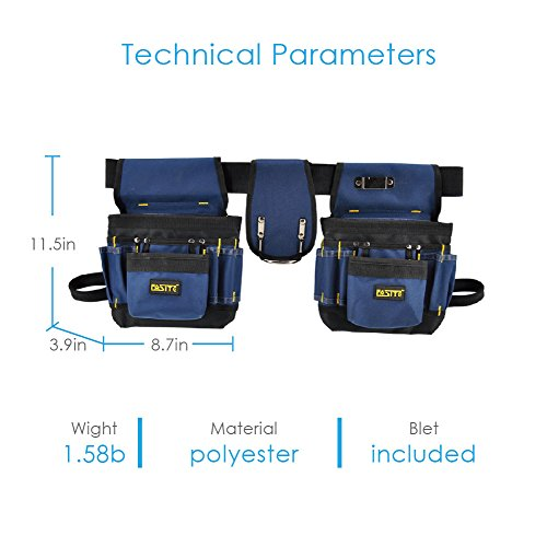 FASITE PTN012 32-POCKET Electrical Maintenance Tool Pouch Bag Technician's Tool Holder Work Organizer Framer's Tool Belt, Blue by FASITE (Image #3)