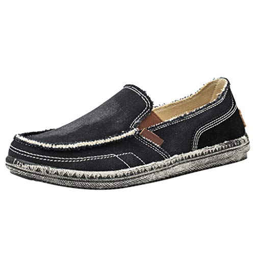 OFEFAN Men's Casual Cloth Shoes Canvas Slip on Loafers Leisure Vintage Flat Boat Shoes (Bread Diamant)