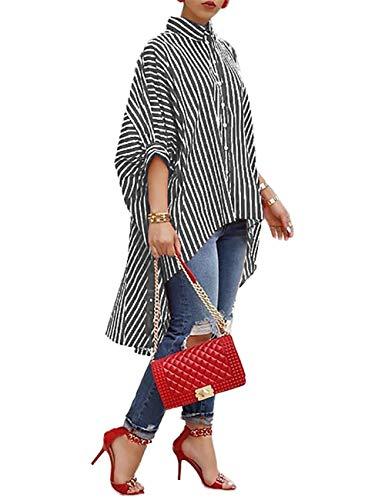 422d4c3de70 Yanekop Womens Striped Print Batwing Half Sleeve Dip Hem Loose Blouse Long  Tops