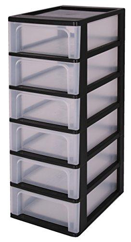 Iris 140067 OCH-2006 A-4 Schubladencontainer mit 6 Schubladen, Plastik, schwarz, 26 x 35,5 x 72,5 cm