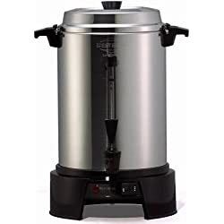 West Bend 13500 Highly-Polished Aluminum Commercial Coffee Urn Features Automatic Temperature Control Large Capacity with Quick Brewing Smooth Prep and Easy Clean Up, 55-cup, Silver