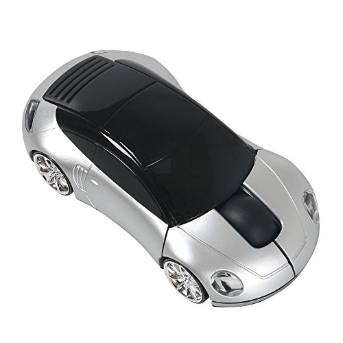 Leeko 2.4GHz 1200DPI/1800DPI Car Shape Wireless Optical Mouse Gaming Mouse with USB Receiver for PC Laptop,Silver