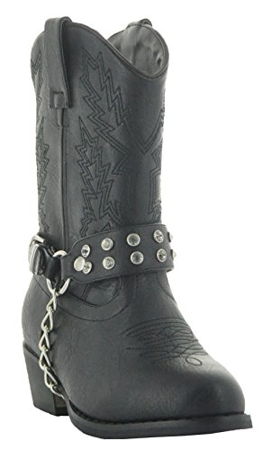Rhinestone Little Rancher Kids Cowgirl Boots by Country Love Boots (11.5 Little Kid, Black) (Cheap Cowgirl Boots Under 20)