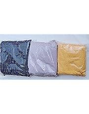 مجموعة من ثلاث ملايات سرير ثلاث الوان - 160 سم الملاية عبارة عن ملاية بالاستيك و كيس مخدة كبير و2 كيس خددية