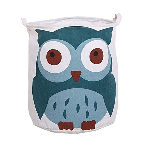 MissionMatch Large Laundry Hamper, Collapaible Laundry Basket, Waterproof Linen Nursery Bin Storage Toy Organizer for Boys and Girls, Baby Gift Baskets Toy Collection, Beautiful Owl, 15.7