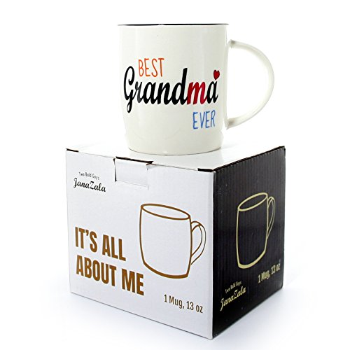 Janazala Best Grandma Ever Mug, Grandma Coffee Mug, Anniversary And Birthday Gifts Idea For Grandmother, Mothers Day Present, Grandparents Christmas Gift, Ceramic, 13 oz Cup (Birthday Gift Ideas For Grandmother)