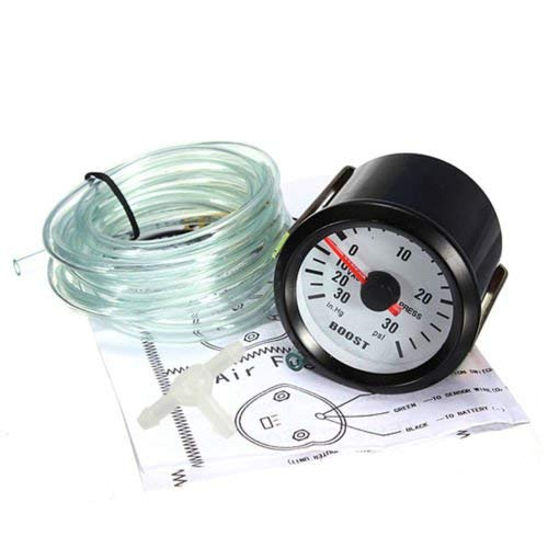 Boost Gauge - 2 inches 52 mm Car Thumb Gauge Comparator 30 PSI Vacuum Pressure Indicator Turbo Boost Pointer Blue LED Light: