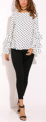 Casual Femme Automne JackenLOVE Point Shirt Col Haut Flare et Tee T Top Chemisiers Printemps Blouse Fashion Blanc Shirts d'onde Sleeve Rond pSSqPwfr