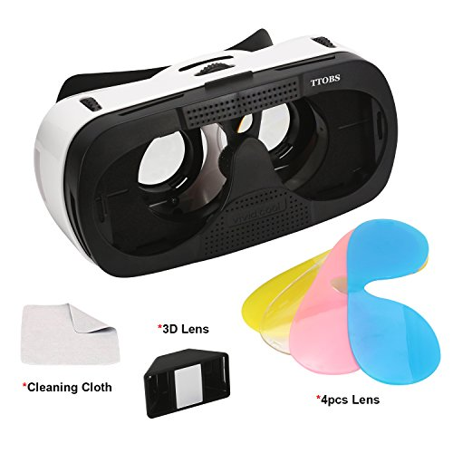 3D VR Glasses Case, TTOBS 3D VR Game Headset Glasses 3D Digital Glasses with 3D Lens Fit for IOS & Android within 4.7-6.0 inches Smartphone iPhone 6/6S, Multicolor Lens Replacement lovely