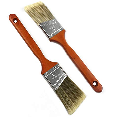 MAXMAN 2 Pieces Angled Sash Paint Brush Set for Walls,Polyester Blend,Treated Wood Handle,2 inch