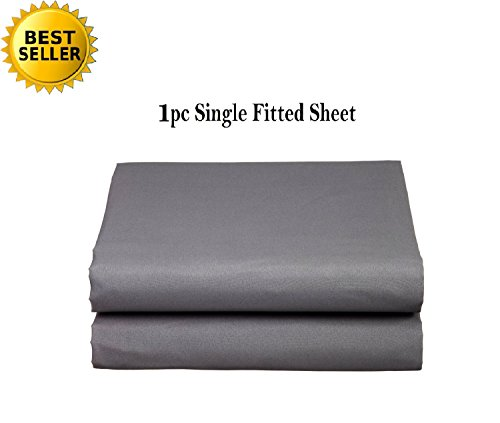 Elegant Comfort Luxury Ultra Soft Single Fitted Sheet Special Treatment Construction Deep Pocket up to 16 - King, Gray
