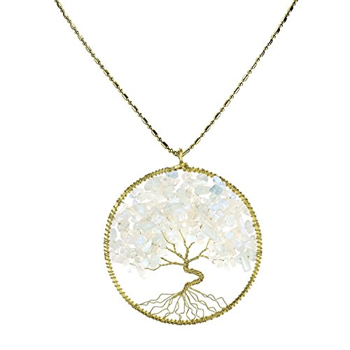 [DEW Drops Simulated Pendant Tree of Life Long Necklace Brass Gemstone Jewelry] (Polynesian Girl Costume)