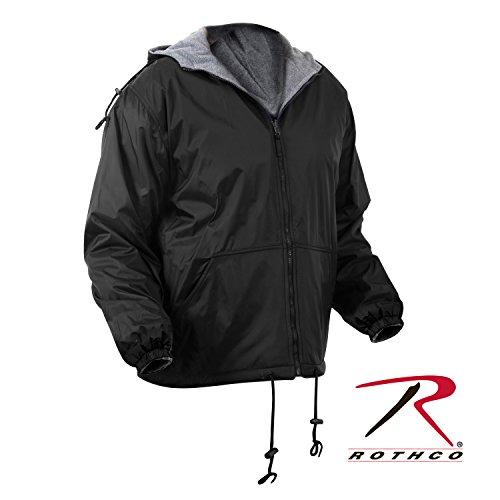Rothco Reversible Fleece Lined Nylon Jacket with Hood, Black, Large