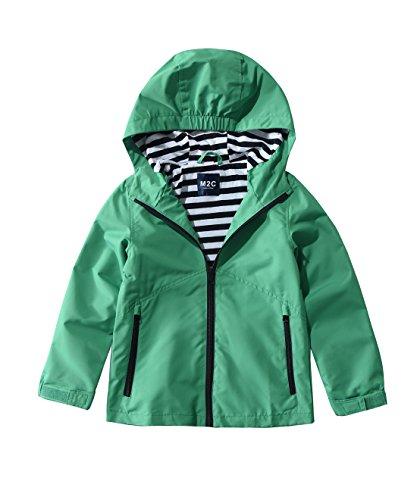 (M2C Boys & Girls Hooded Windproof Jacket Light Windbreaker 4/5 Green)
