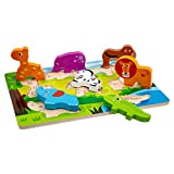 Tooky Toy 11.81 x 8.27 x 0.79, Animal Chunky Puzzle, Wood