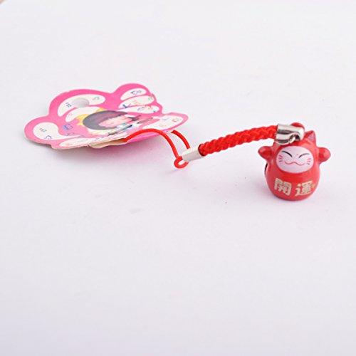 Fengshui Red Fortune Cat Cell Phone Handbag Hanging Amulet+ Free Red String Bracelet SKU:M1034
