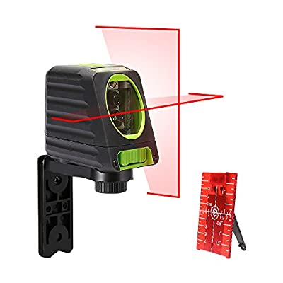 Self-leveling Laser Level - Huepar Box-1R 98ft/30m Red Cross Line Laser Level with vertical beam spread covers of 150°, Selectable Laser Lines, 360°Magnetic Base and Battery Included